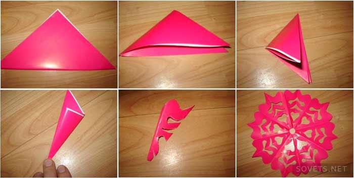 как делать снежинки из бумаги пошаговая инструкция